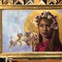 Portret van een kind met bloemen schilderij
